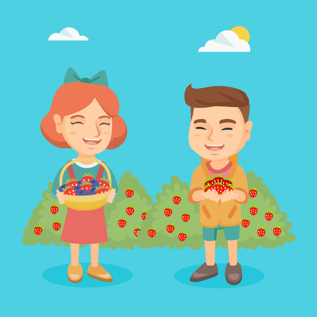 Caucasian boy and girl holding strawberries and blueberries. Little kids standing on the background of the bushes of strawberries and blueberries. Vector sketch cartoon illustration. Square layout