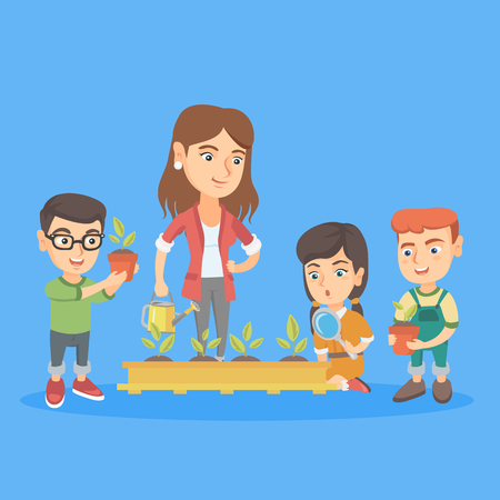 Young caucasian teacher and school kids planting sprouts in the garden. Teacher teaching school kids how to grow sprouts at the lesson of botany. Vector sketch cartoon illustration. Square layout.