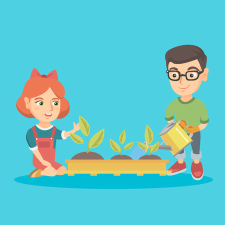 Caucasian boy and girl planting a sprout. Boy in garden gloves watering a sprout with a watering can and girl sitting near newly planted sprouts. Vector sketch cartoon illustration. Square layout. 일러스트