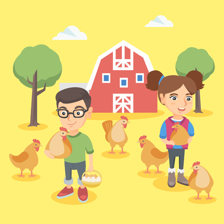chick: Caucasian farm boy and girl holding chickens and eggs in the backyard. Little boy and girl standing on the background of chicken coop on the farm. Vector sketch cartoon illustration. Square layout.