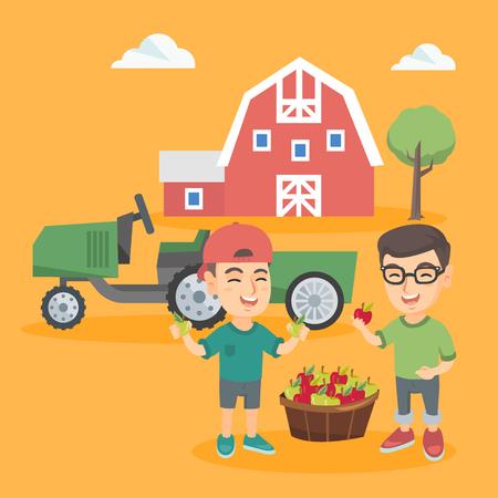 Twee Kaukasische jongens die zich met de mand van appelen op de achtergrond van binnenplaats met schuur en tractor bevinden. Kleine glimlachende jongens die appelen oogsten. Vector schets cartoon illustratie. Vierkante lay-out. Stock Illustratie