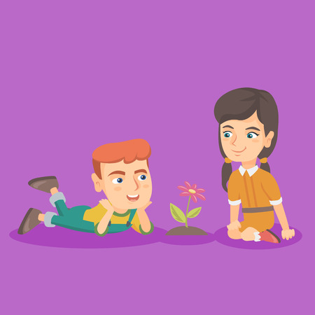 Little caucasian boy lying on the ground and looking at the flower while his female friend sitting nearby. Happy friends and a flower. Vector sketch cartoon illustration. Square layout. Vettoriali