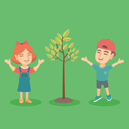 Happy caucasian boy and girl standing near the tree. Cheerful children jumping near the tree. Active kids playing near the tree. Vector sketch cartoon illustration. Square layout.