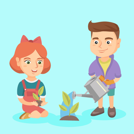 Caucasian boy and girl planting a sprout. Boy wearing garden gloves and watering a sprout with a watering can while girl holding a sprout in hands. Vector sketch cartoon illustration. Square layout.