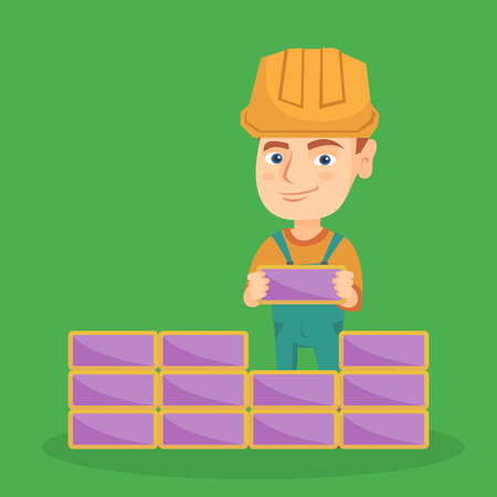 Little caucasian bricklayer boy in hard hat building a brick wall. Smiling bricklayer boy in uniform and helmet learning bricklaying. Vector sketch cartoon illustration. Square layout.
