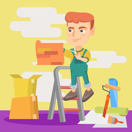 Little caucasian boy wallpapering the walls during interior home renovation work. Boy attaching wallpaper to the wall. Concept of house renovation. Vector sketch cartoon illustration. Square layout. Illustration