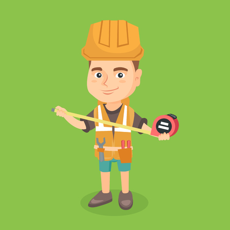 Little caucasian boy in protective hard hat using a measuring tape. Smiling boy in a helmet and vest playing in the builder with a measuring tape. Vector sketch cartoon illustration. Square layout.