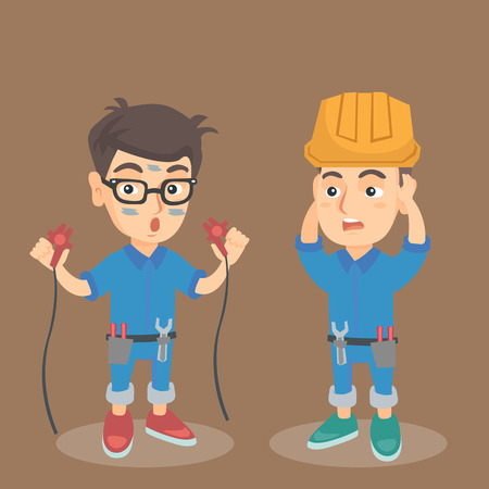 Caucasian electrician boy with dirty face holding electrical equipment while his friend in desperate looking at him. Little boy got an electric shock. Vector sketch cartoon illustration. Square layout Reklamní fotografie - 86056050