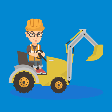 little caucasian builder kid in hard hat driving an excavator. Happy boy operating an excavator. Builder kid sitting in cockpit of an excavator. Vector sketch cartoon illustration. Square layout.