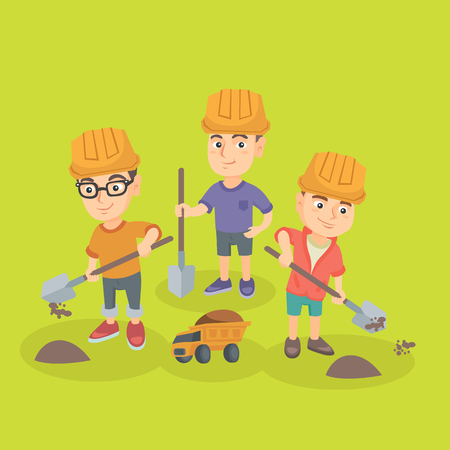 baby playing toy: Little caucasian boys in hard hats playing with sand, spade and toy truck. Group of young boys in helmet scooping sand in toy truck. Vector sketch cartoon illustration. Square layout.