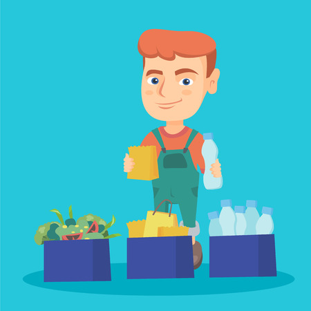 Caucasian boy holding plastic bottle and paper bag in hands while standing near three boxes with plastic, paper and food waste. Boy separating waste. Vector cartoon illustration. Square layout. Stock Illustratie