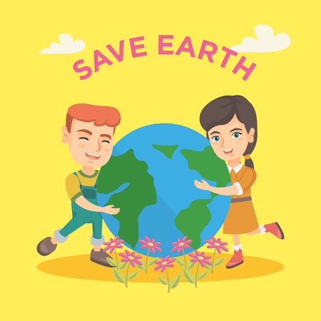Caucasian boy and girl hugging with love the Earth planet and text save Earth above them. Happy children with the Earth planet. Save Earth concept. Vector cartoon illustration. Square layout.