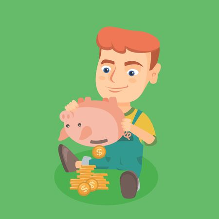 Young caucasian boy shaking money out of a piggy bank. Little happy boy emptying a piggy bank. Smiling boy kid getting money from the piggy bank. Vector cartoon illustration. Square layout.