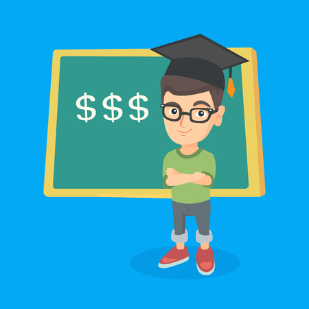 Caucasian boy in graduation hat standing with folded arms on the background of blackboard with dollar signs.