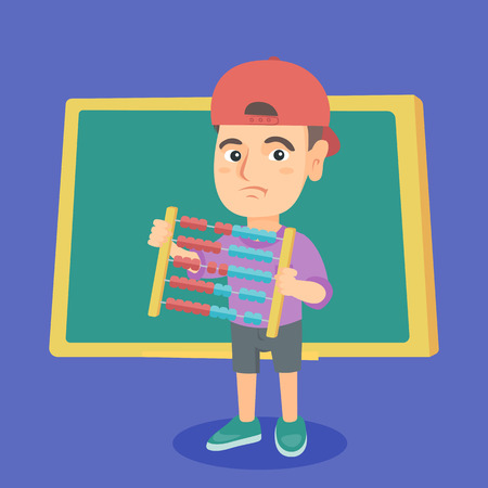 Disappointed caucasian schoolboy standing with abacus in hands on the background of blackboard in classroom. Illustration