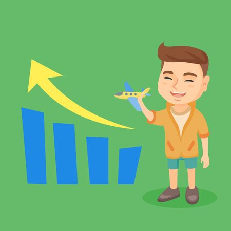 Little caucasian businessman with airplane in hand standing next to a business growth bar chart. Illustration