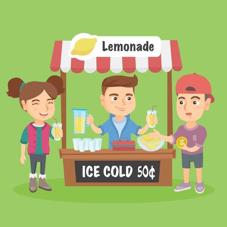 Piccolo bambino caucasico in piedi dietro il cavalletto e vendita di limonata. Imprenditore di successo bambino che gestisce la sua attività privata di vendere limonata. Vettoriali