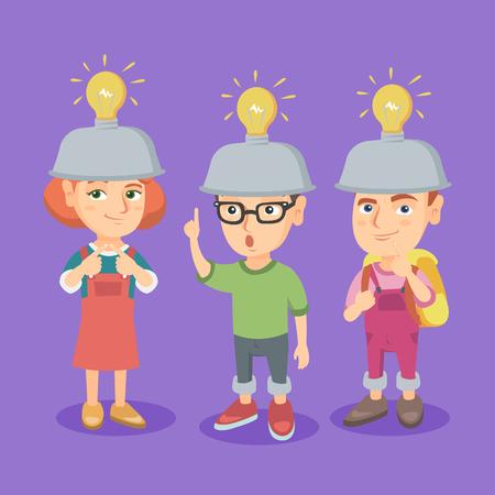 Groep Kaukasische kinderen met idee gloeilampen boven hun hoofden. Kinderen komen met uitstekende ideeën. Succesvol idee en innovatieconcept. Vector cartoon illustratie. Vierkante lay-out.
