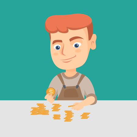 Little caucasian boy sitting at the table with coins on it. Cheerful kid counting coins on the table. Illustration
