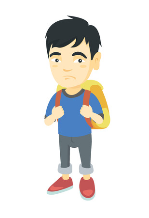 Little asian sad schoolboy  carrying a backpack. Full length of upset schoolboy with backpack. Vector sketch cartoon illustration isolated on white background. 向量圖像