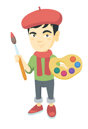Asian boy dressed as an artist holding brush and paints. Little artist wearing hat and scarf and drawing with paints and brush. Vector sketch cartoon illustration isolated on white background.