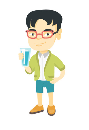 Little asian boy holding a glass of water in his hand. Smiling boy with water in a glass. Boy drinking water. Vector sketch cartoon illustration isolated on white background.