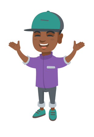 Cheerful african-american boy standing with hands raised in the air. Illustration