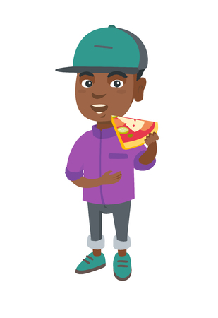 Cheerful african-american boy eating tasty pizza. Full length of little boy holding a piece of pizza in hand and stroking his belly.