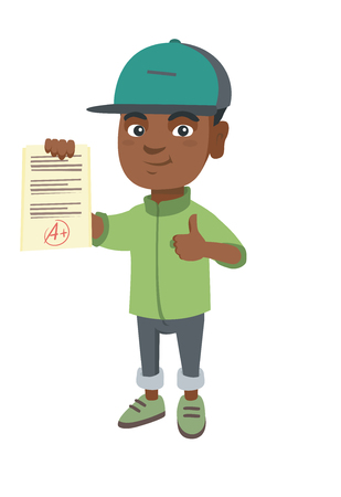 Happy african pupil holding a sheet with the highest mark and giving thumb up. Illustration