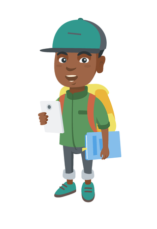 African-american smiling schoolboy with backpack using a cellphone. Little schoolboy holding cellphone and textbook in hands.