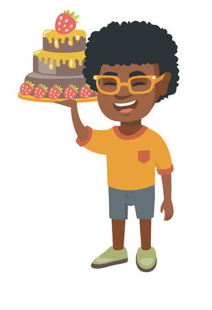 Little african-american boy holding a strawberry cake. Illustration