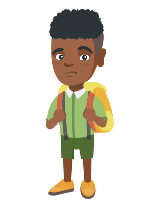 Little african-american sad schoolboy carrying a backpack. Full length of upset schoolboy with backpack.