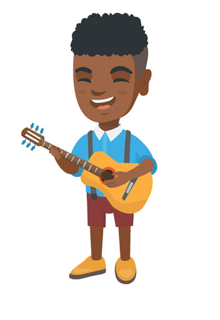 African-american cheerful boy singing and playing the acoustic guitar. Full length of happy boy with a guitar.