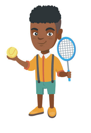 Little african tennis player holding a tennis racket and a ball. Smiling boy while a tennis racket and a ball. Boy playing tennis. Ilustração