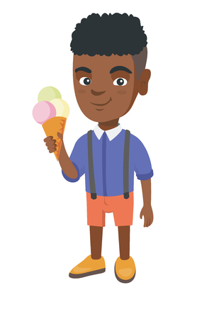 Little african-american boy holding an ice cream cone. Cheerful boy eating a delicious ice cream cone.