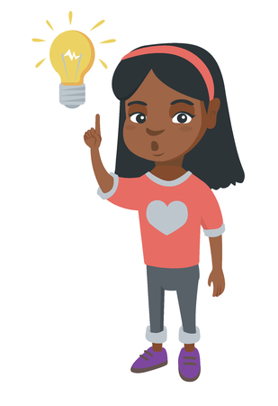 African smart little girl having a bright idea. Clever girl with open mouth pointing forefinger at the glowing light-bulb.