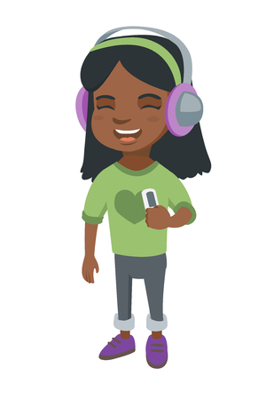 African-american girl enjoying music in headphones. Little girl in earphones listening to music with a music player.