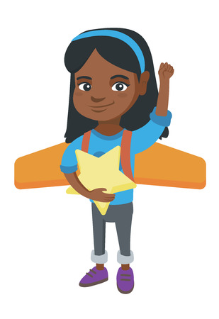 African girl with raised arm playing with airplane wings and holding a star in hand.