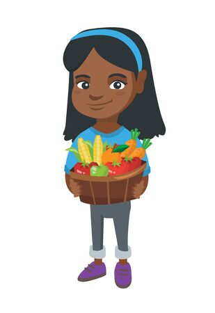 African smiling girl with the basket of fruit and vegetables. Full length of little girl holding the basket with fruit and vegetables. Illustration