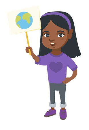 African-american girl holding a placard with planet. Full length of eco-friendly little girl with a placard with earth at the rally.