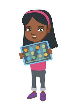태블릿 컴퓨터에서 게임 아프리카 여자입니다. 태블릿 컴퓨터 화면에 게임을 보여주는 소녀. 태블릿 컴퓨터를 사용 하여 소녀입니다.