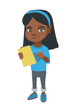 Happy little african-american girl writing on the paper attached to a clipboard. Illustration
