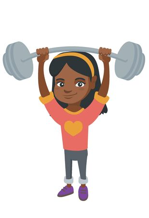 Strong african child lifting a heavy weight barbell. Little girl in sportswear training with barbell.
