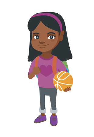 Young african cheerful schoolgirl with backpack holding a basketball ball.
