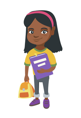 African-american pupil with backpack and tutorial. Full length of smiling happy pupil holding textbook and backpack in hands.