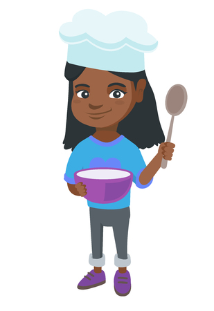 Little african-american girl wearing chef hat and holding a saucepan and a kitchen spoon. Illustration