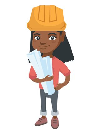 Little african engineer girl wearing hard hat and holding paper plans in hands.