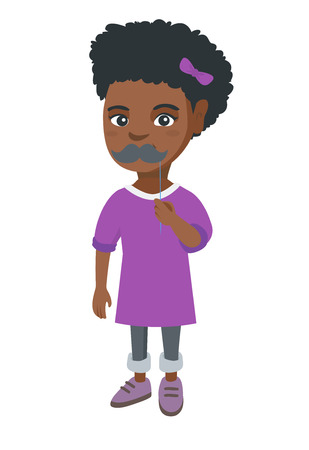Little african-american girl holding fake moustache on a stick in front of her face. Girl with a fake mustache. Vector sketch cartoon illustration isolated on white background. Иллюстрация