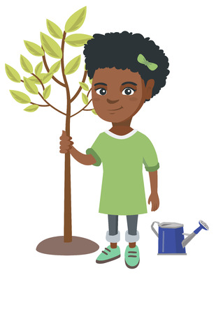 African-american smiling girl planting a tree. Eco-friendly girl standing near newly planted tree and watering can. Vector sketch cartoon illustration isolated on white background. Illustration