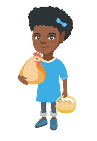 African-american farmer girl holding a chicken and hen eggs in her hands. Little girl with chicken and basket of hen eggs. Vector sketch cartoon illustration isolated on white background.